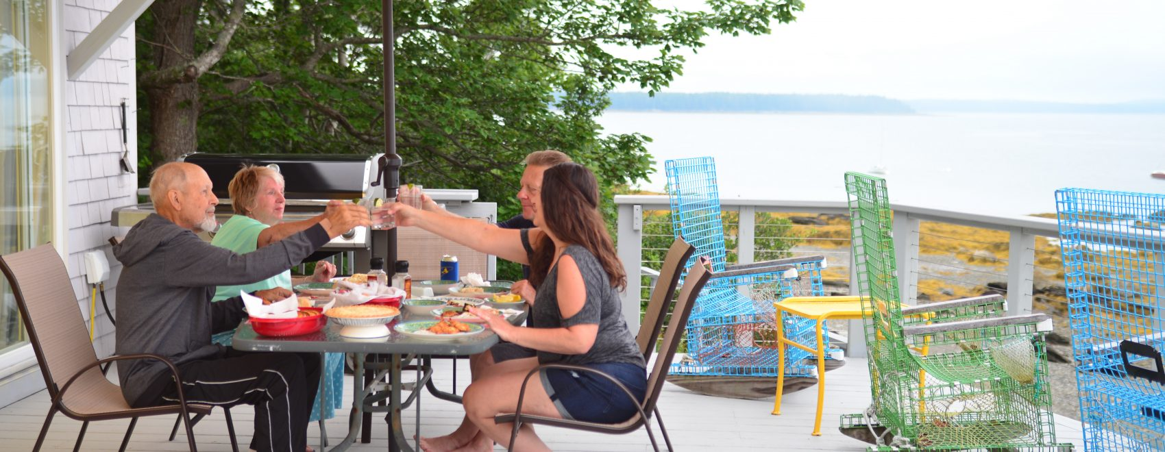 Dinner on the deck at Bar Harbor View Cottage
